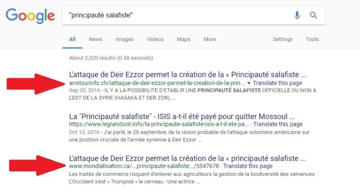 principauté salafiste-résultats google-inde