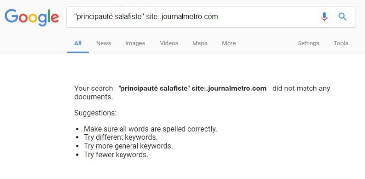 principauté salafiste-résultats google-metro