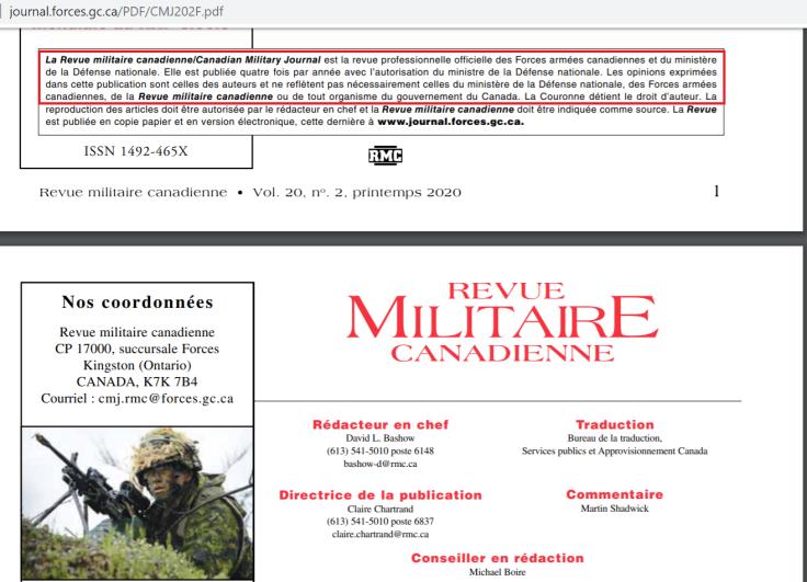 revue militaire canadienne