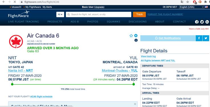 AC6 Tokyo-Montréal last flight March 27