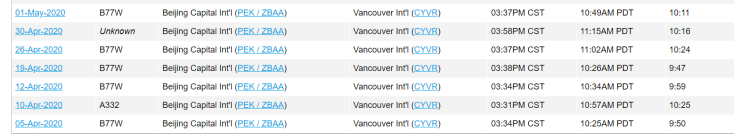 Air China Beijing Vancouver flight history 2