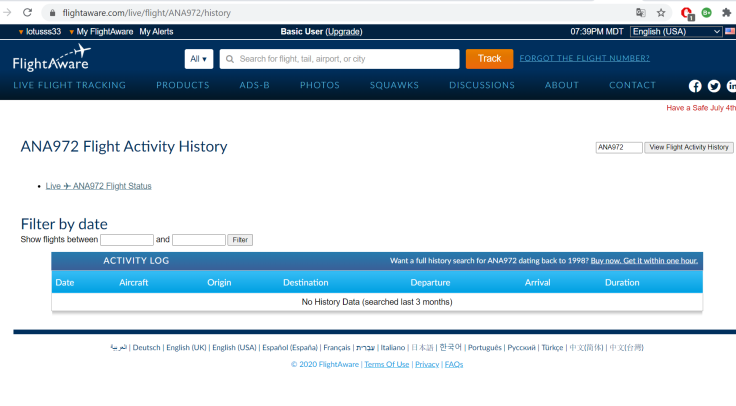 ANA 972 flight history last 3 months