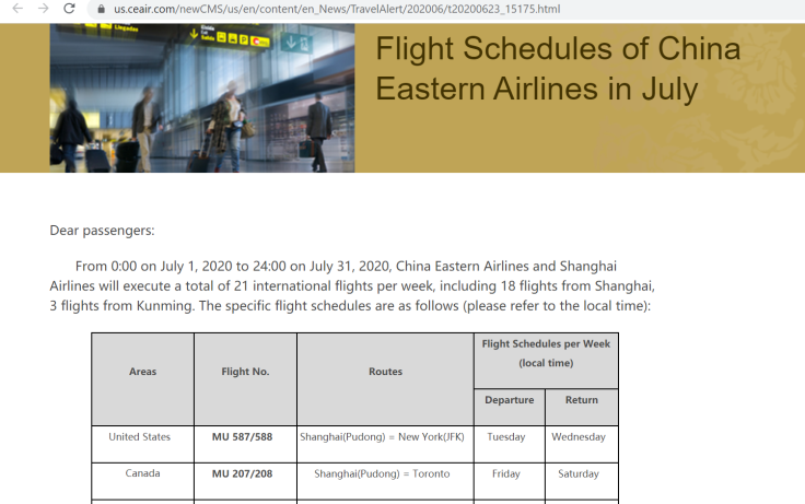 China Eastern July schedule